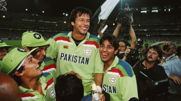 Imran Khan is hoisted up by his team-mates after winning the World Cup