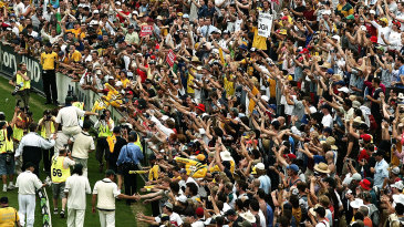 Steve Waugh is carried around the ground by his team-mates