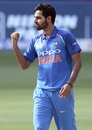 Bhuvneshwar Kumar celebrates an early wicket, Bangladesh v India, Asia Cup, Dubai, September 21, 2018