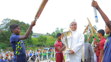 Arjuna Ranatunga carries the World Cup trophy