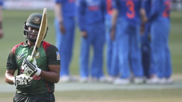 Shakib Al Hasan contemplates a poor shot