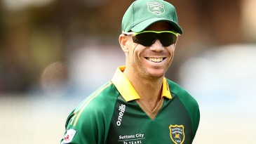 David Warner finds a reason to smile during a club game