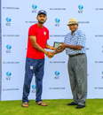 Monank Patel accepts the Man of the Match award from former West Indies player Alvin Kallichharan, USA v Panama, ICC World Twenty20 Americas Sub Regional Qualifier A, Morrisville, September 20, 2018