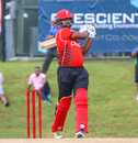 Srimantha Wijeyeratne powers a pull over mid-on for a boundary, Belize v Canada, ICC World Twenty20 Americas Sub Regional Qualifier A, Morrisville, September 20, 2018