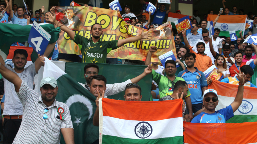 Fans of the India and Pakistan teams flocked with flags and banners
