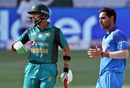 Bhuvneshwar Kumar and Imam-ul-Haq react in the field, India v Pakistan, Super Four, Asia Cup 2018, Dubai, September 23, 2018