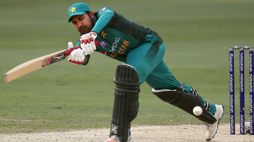 Sarfraz Ahmed strides out to steers the ball fine
