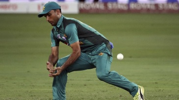 Fakhar Zaman puts down a chance