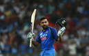 Rohit Sharma raises his bat after getting to his hundred, India v Pakistan, Super Four, Asia Cup 2018, Dubai, September 23, 2018