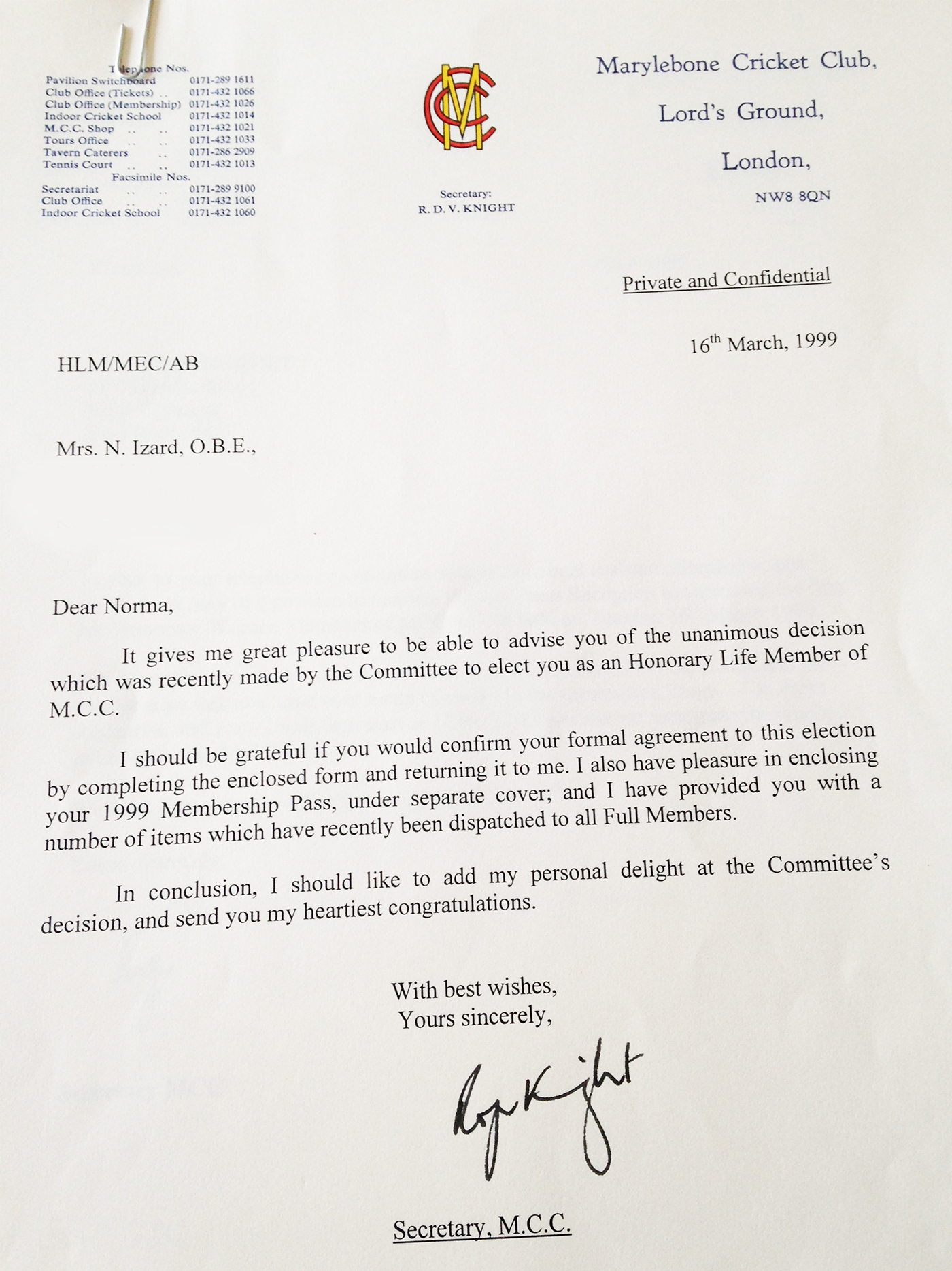 The MCC's letter to Norma Izard informing her she had been granted membership