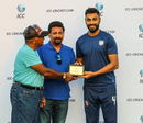 Jaskaran Malhotra accepts the Man of the Match award following USA's win, USA v Belize, ICC World Twenty20 Americas Sub Regional Qualifier A, Morrisville, September 21, 2018