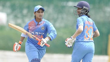 Anuja Patil and Jemimah Rodrigues take a run during their match-winning partnership