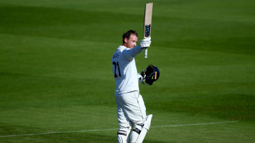 Tom Westley acknowledges the applause for his hundred
