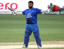 Mohammad Shahzad celebrates his century, Afghanistan v India, Asia Cup 2018, Dubai, September 25, 2018