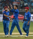Mohammad Nabi celebrates after removing Ambati Rayudu, Afghanistan v India, Asia Cup 2018, Dubai, September 25, 2018
