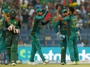 Hasan Ali celebrates with his team-mates after dismissing Mohammad Mithun, Bangladesh v Pakistan, Asia Cup 2018, Abu Dhabi, September 26, 2018