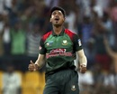 Mustafizur Rahman celebrates after taking a wicket, Bangladesh v Pakistan, Asia Cup 2018, Abu Dhabi, September 26, 2018