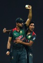 Mashrafe Mortaza raises the ball after taking a blinder, Bangladesh v Pakistan, Asia Cup 2018, Abu Dhabi, September 26, 2018