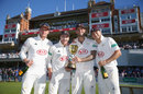 Jason Roy, Rory Burns, Jade Dernbach and Tom Curran pose in front of the pavilion, Surrey v Essex, County Championship, Division One, The Oval, September 27, 2018