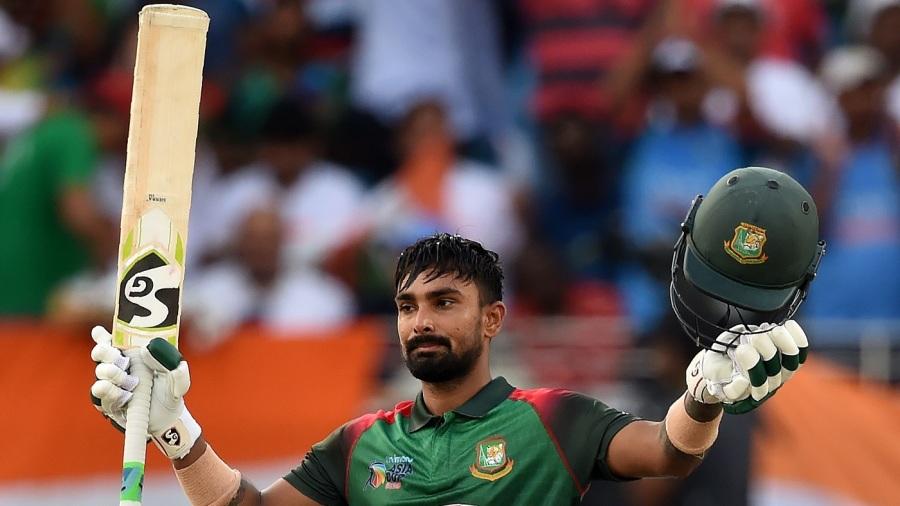 Liton Das celebrates his maiden ODI hundred