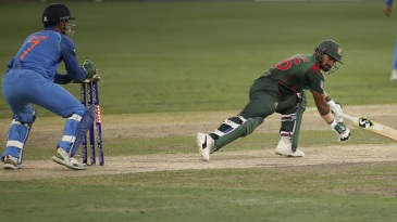 Liton Das stretched out too far and MS Dhoni whipped the bails off