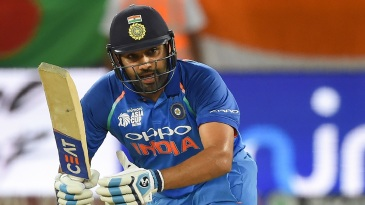 Rohit Sharma clips the ball off his toes