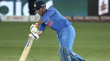 MS Dhoni comes forward to drive