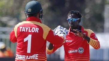 Brandon Mavuta celebrates his maiden ODI wicket