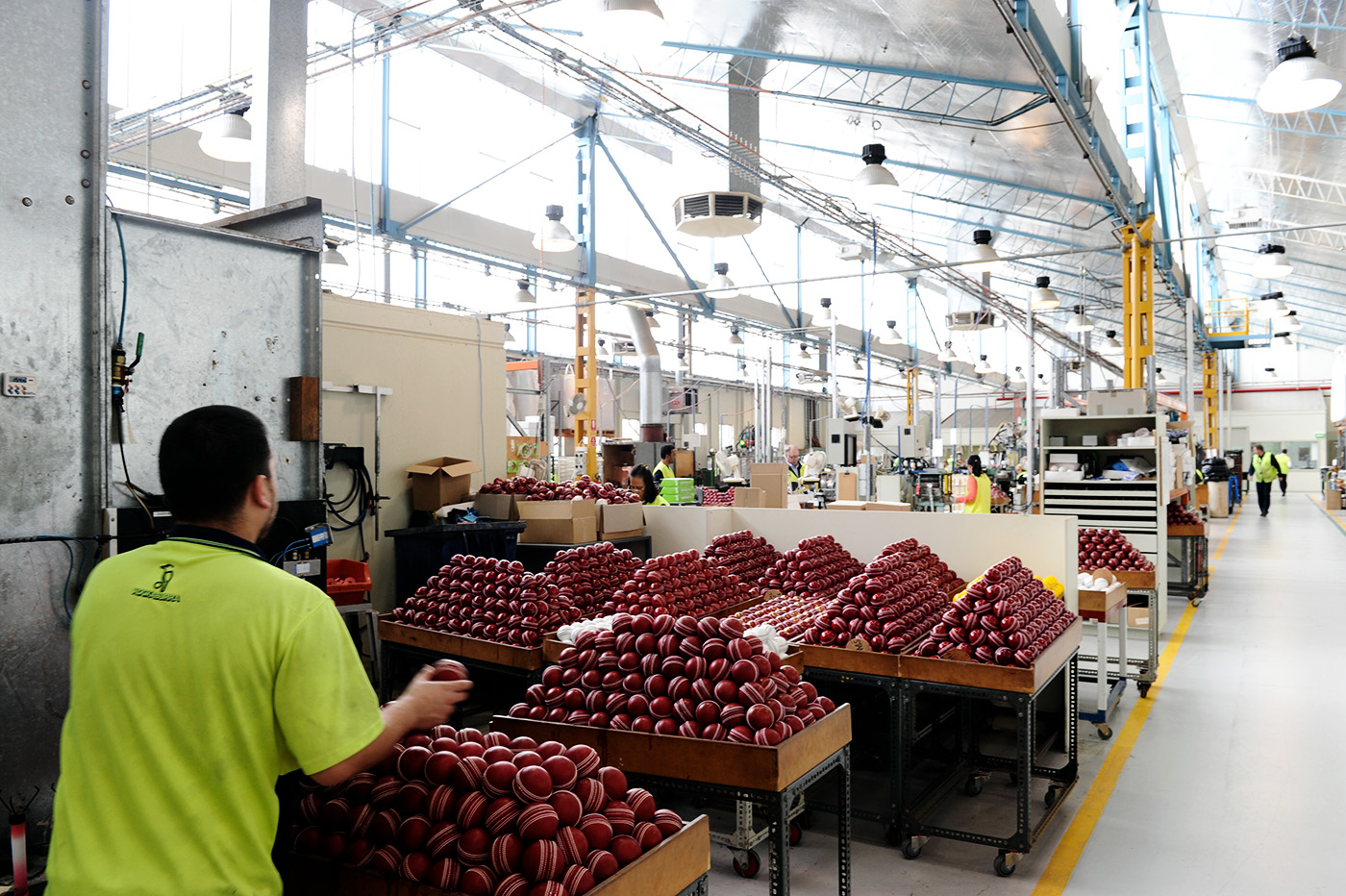 Cricket balls ready to be packed in the Kookaburra factory in Moorabbin in Melbourne