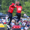 Saad Bin Zafar gets a leaping high five after taking a wicket, USA v Canada, ICC World Twenty20 Americas Sub Regional Qualifier A, Morrisville, September 22, 2018