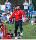 Nikhil Dutta enters his delivery stride, USA v Canada, ICC World Twenty20 Americas Sub Regional Qualifier A, Morrisville, September 22, 2018