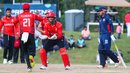 Nitish Kumar runs in to high five Hamza Tariq after teaming up to run out Timil Patel, USA v Canada, ICC World Twenty20 Americas Sub Regional Qualifier A, Morrisville, September 22, 2018