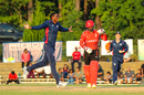 Elmore Hutchinson celebrates after bowling Navneet Dhaliwal, USA v Canada, ICC World Twenty20 Americas Sub Regional Qualifier A, Morrisville, September 22, 2018
