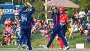 Nosthush Kenjige celebrates after dismissing Nitish Kumar, USA v Canada, ICC World Twenty20 Americas Sub Regional Qualifier A, Morrisville, September 22, 2018