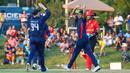 Nosthush Kenjige celebrates after dismissing Nitish Kumar, USA v Canada, ICC World Twenty20 Americas Sub Regional Qualifier A, Morrisville, September 22, 2018