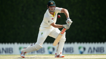 Mitchell Marsh plays off the front foot