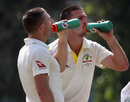 The Marsh brothers, Shaun and Mitchell, hydrate on a hot day, Pakistan A v Australians, 3rd day, Dubai, October 1, 2018