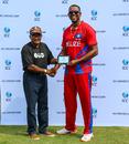 Francis Sutherland accepts his Man of the Match award from Alvin Kallicharran, Belize v Panama, ICC World Twenty20 Americas Sub Regional Qualifier A, Morrisville, September 22, 2018