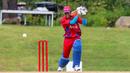 Aaron Muslar drives down the ground, Belize v Panama, ICC World Twenty20 Americas Sub Regional Qualifier A, Morrisville, September 25, 2018