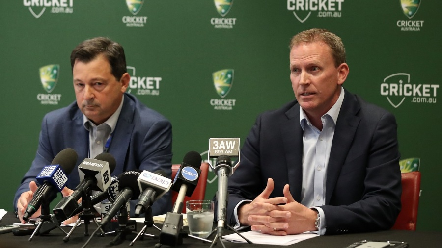 Cricket Australia's new CEO Kevin Roberts and chairman David Peever address the media