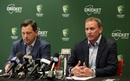 Cricket Australia's new CEO Kevin Roberts and chairman David Peever address the media, Melbourne, October 3, 2018