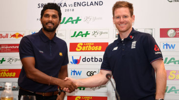 Dinesh Chandimal and Eoin Morgan shake hands ahead of the one-day series