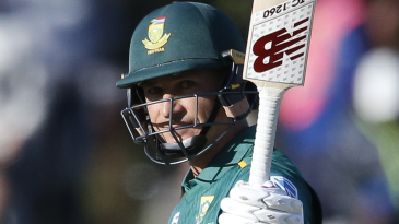 Dale Steyn raises his bat after a maiden ODI half-century