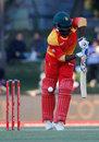 Solomon Mire is struck on the back leg, South Africa v Zimbabwe, 2nd ODI, Bloemfontein, October 3, 2018