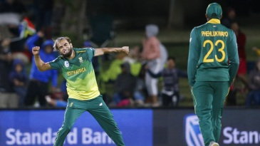 Imran Tahir celebrates after a six-wicket haul