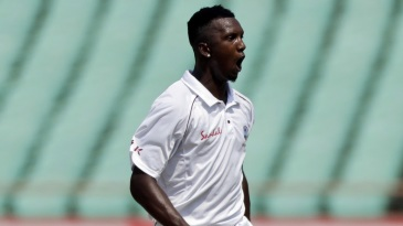 Sherman Lewis celebrates after getting Cheteshwar Pujara for his maiden Test wicket