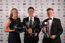 Sophie Ecclestone, Joe Denly and Ollie Pope pose with their PCA awards, London, October 4, 2018