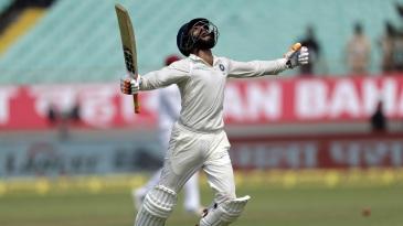 Ravindra Jadeja exults after bringing up his maiden Test ton
