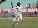 Ravindra Jadeja exults after bringing up his maiden Test ton, India v West Indies, 1st Test, Rajkot, 2nd day, October 5, 2018