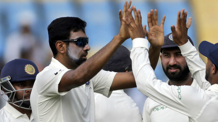 R Ashwin struck early to dig into West Indies' middle order